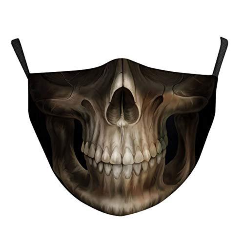 Mundschutz mit Motiv Halloween Joker Skull Totenkopf Blut Lippen Schnurrbart Horror 3D Lustig Mund und Nasenschutz Waschbar mit 2 Filters Damen Herren Moustache Multifunktionstuch Halstuch (TQ-500)