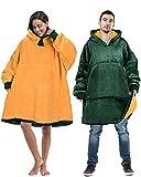 Oversized Blanket Sweatshirt Comfortable Sherpa Giant Hoodie Reversible Green Packers