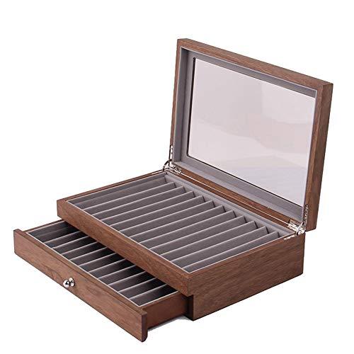 Fransande 23 Boote de visualización de bolígrafo de madera, boote de almacenamiento, ventana de cristal, boote de dos expositores y cajones.