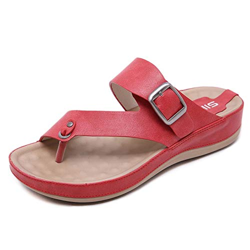 LTLGHY Orthotic Sandals Women Buckle Slides with Arch Support Flip Flops for Plantar Fasciitis Flat Feet Ideal for Walking, Garden, Beach & Travel Activities,Red,37