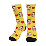 Print Your Face On Socks, to Dad Mom with Love Photo Personalized Funny Crew Sock Gifts