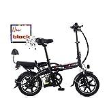 LOVE-HOME Bicicleta Eléctrica Plegable para Adultos, De 14 Pulgadas 48V / 8A De Litio La Batería Tandem Bicicletas Doble Asiento E-Bici, Resistencia 25-30 Kilómetros Mini Motocicleta,Negro