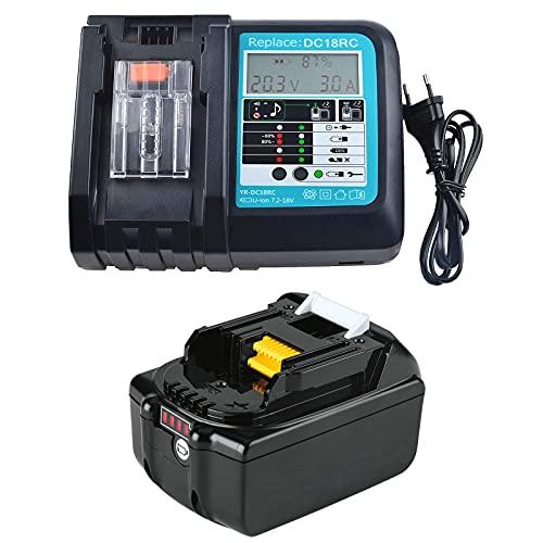 FengBP 5.5 A 18 V 5500 mAh batería de litio de repuesto para Makita BL1860B BL1860 BL1840B BL1830B BL1850B 194204-5,196399-0 LXT + cargador DC18RA DC18RC, Makita DLM431Z DLM380Z DUC353Z DUB362Z