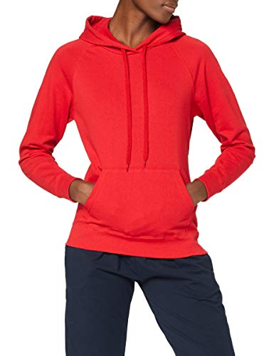 Fruit of the Loom SS076M Sweat-Shirt con capucha para mujer, Rosso, S