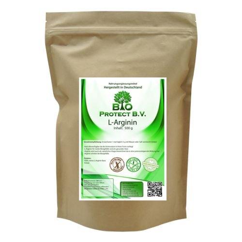 L- Arginin Base Pulver 500 Gramm - 100% ohne Zusatzstoffe - Bio Protect BV