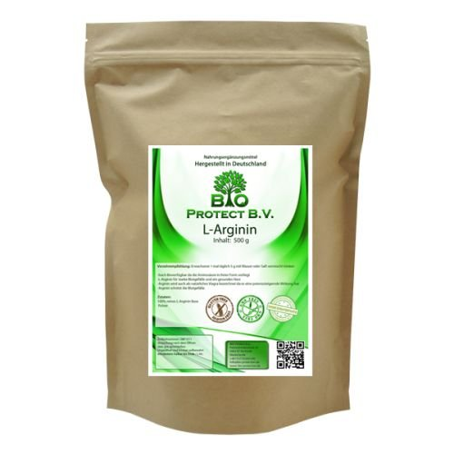 L- Arginin Base Pulver 500 Gramm - 100{51a42b16af0352be2cb7cf4683c397e3f0d9e3911dfefd3e82d8eae84f05696c} ohne Zusatzstoffe - Bio Protect BV