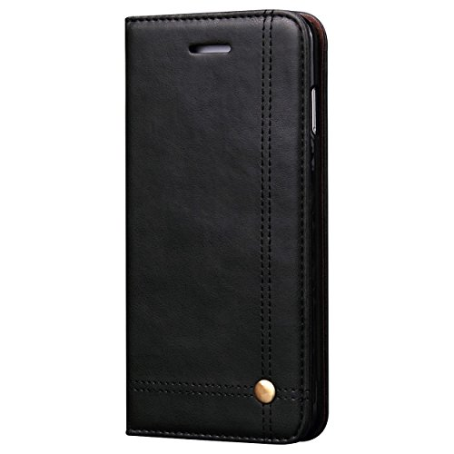 Pirum Magnetic Flip Cover for Apple iPhone X/iPhone Xs Leather Case Wallet Slim Book Cover with Card Slots Cash Pocket Stand Holder - Black