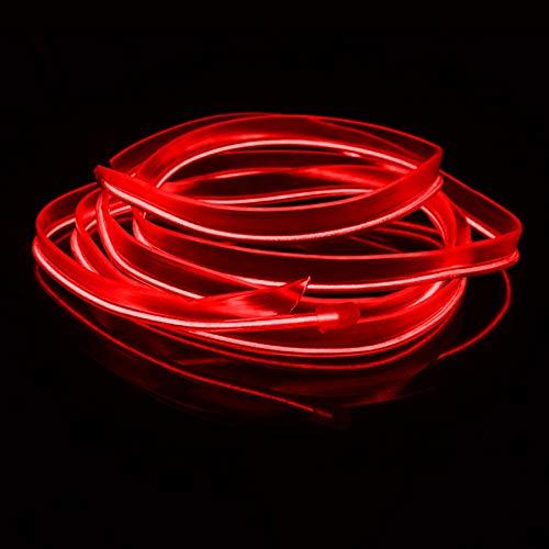 Eulifeled USB LED-Leuchten 10M/32FT Flexible Soft Tube Wire Lights USB Neon EL Draht leuchtendes Auto Dekor Hausdekoration Streifen Glasfaser Licht 360 Grad Beleuchtung (Rot)