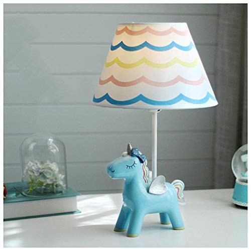 Lámparas de escritorio Habitación infantil Unicornio de dibujos animados Lámpara de mesa Dormitorio Lámpara de noche Creativa Cálida Romántica Linda niña Niño Decoración Lámpara de mesa pequeña (