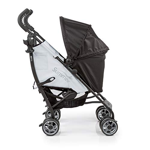 Summer 3Dflip Convenience Stroller, Black/Gray  Lightweight Umbrella Stroller with Reversible Seat Design for Rear and Forward Facing, Compact Fold, Adjustable Oversized Canopy and More