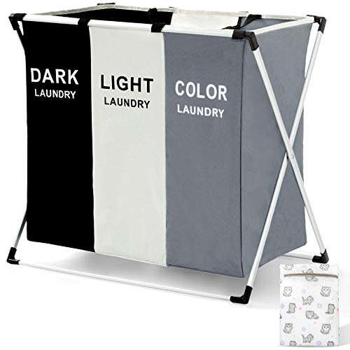 Moloni 135L Laundry Hamper Sorter Basket 3 Sectionswith Waterproof Bag and Aluminum FrameFoldable Portable Divided Storage Dirty Clothes Organizer for Bathroom Bedroom with Laundry Bag