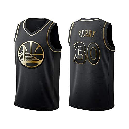 FDWD Golden State Warriors Stephen Curry 30# Jugend Herren Damen Basketball Trikots Erwachsene Outdoor Sport Weste Tops Mesh Stickerei Atmungsaktiv Ärmellos Fitness Shirts Gr. L, Schwarz