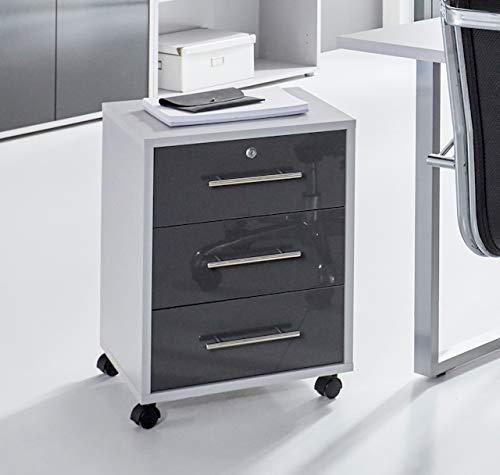 moebel-dich-auf.de Rollcontainer TABOR Büro-Rollcontainer Container mit Schubladen (lichtgrau/anthrazit Hochglanz)
