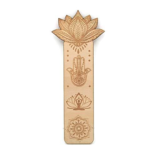 Simboli mandala buddisti di fiore di loto yoga – Segnalibro in legno inciso