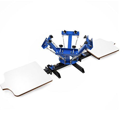 VEVOR Screen Printing Machine 17.7x21.7Inch Screen Printing Press 4 Color 2 Station Silk Screen Printing for T-Shirt DIY Printing Removable Pallet (4 Color 2 Station)