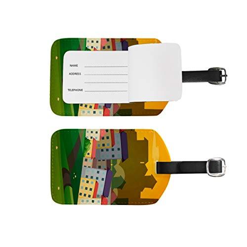 Etiquetas de equipaje para nombre de dirección, 2 unidades de etiquetas de identificación portátil para tarjetas de decoración, accesorios de viaje para maletas, bolsas, casas de escena