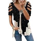 Mintop Women's Summer Tops Short Sleeve Starry Sky Graphic Print Cold Shoulder Loose Zip V-Neck T-Shirt (K-Black, 2XL)