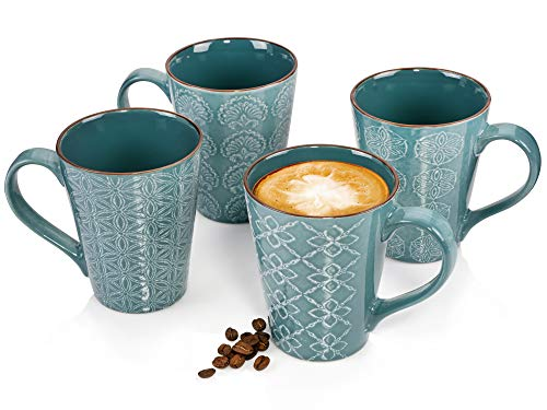 Sänger KaffeebecherFaroaus Porzellan 4 teiliges Set für 4 Personen - Füllmenge der Becher 450 ml -Unterschiedliche, Muster in Ornament Optik, glänzendes Porzellanservice