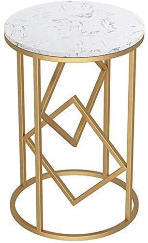 HTL Mesa de mármol de mesita de noche útil, sala de estar pequeña mesa pequeña mesa redonda balcón, sofá Mueble lateral/mesa de esquina mesa a lado,Blanco de oro