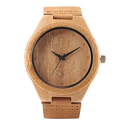 LCDIEB Negro/Café/Esfera Verde Reloj de Madera de bambú Natural Hombres Mujeres Reloj de Madera de Cuero Genuino Hora Masculina, Dial de Ancla