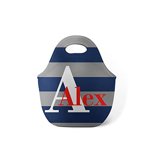 Preppy Stripes Personalized Lunch Tote
