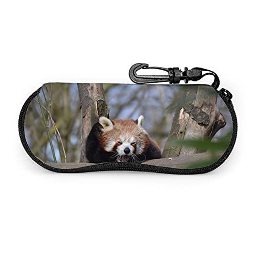Red Panda Less Pander - Funda suave para gafas de sol (neopreno, ultraligero, portátil, con cremallera, funda suave, bolsa de seguridad para gafas, caja con cremallera