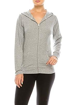 EEVEE Women's Full Zip Hoodie - Casual Slim Fit Lightweight Jacket Long Sleeve Sweater Activewear Yoga Running Hooded Sweatshirt ASJ-4001 Grey M