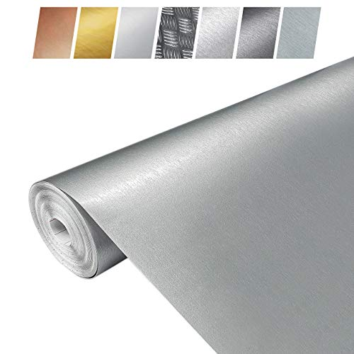 Askol DecoMeister Klebefolien in Aluminium-Gebürstet-Optik Aluminiumblechfolien Kühlschrank-Folien Aluminiumfolie Selbstklebefolie Möbelfolie Selbstklebend 45x150 cm Blechfolie Metallic Gebürstet