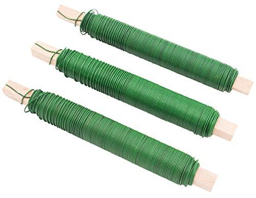 3er SET Wickeldraht Bindedraht Basteldraht Farbe grün, Stärke 0,65mm je 100g auf Holzstab gewickelt Gartendraht Floristendraht für Blumen und Pflanzen