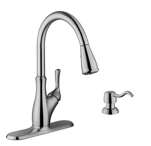Soleil SS7636 Stainless Steel Pull Down Single Handle Kitchen Faucet in Brushed Nickel with Soap Dispenser