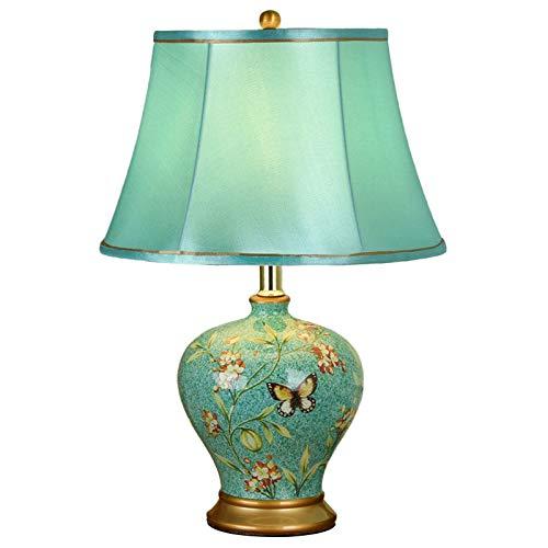 SACYSAC Oriental Gran lámpara de cerámica de Mesa, Exquisita Pantalla de la Tela, el Interruptor de botón, lámpara de cabecera en la Sala de Estar, Estudio, Dormitorio,C