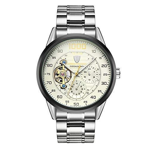 Reloj Cronógrafo Automático Tourbillón con Rotor Visible y Pulsera de Acero Inoxidable para Hombre (Esfera Blanca)