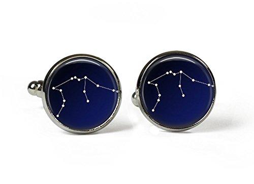 Constellation-Signe du Zodiaque Verseau-ciel en verre Boutons de manchette plaqué argent (Art Print (Photo)