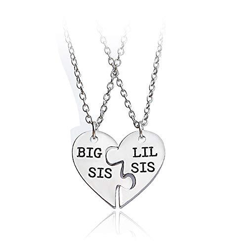 Mingjun 2 Piece Set Necklace BIG/LITTLE SISTER Pendant Heart Pendant Sister Necklace Letter Pendant Alloy Necklace for Women Girls