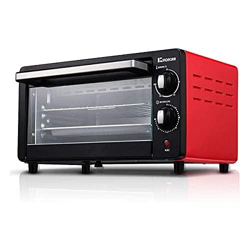 Horno Eléctrico de Sobremesa 10L Mini Horno 230 ° C Temperatura Ajustable y sincronización de 60 Minutos 800W Totalmente automático para Hornear BBQ Huevo Tarta Pastel Pizza (Color : Red)