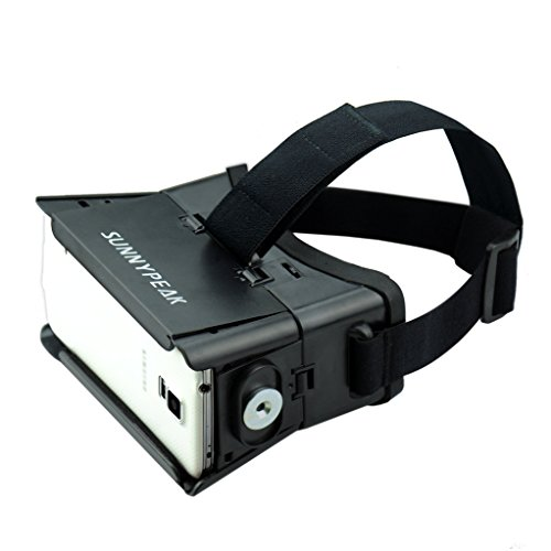 Sunnypeak VRG-10900 Plastic Google Cardboard with 3D Virtual Reality Glasses & Adjustable Focal Distance for iPhone, Samsung, Nexus, HTC, Moto, LG Select Smartphones with QR code (Black, with Magnet)