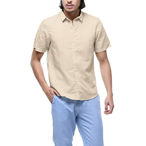 Great Features Of TOPUNDER Men's Baggy Cotton Linen Solid Short Sleeve Button Retro T Shirts Tops Bl...