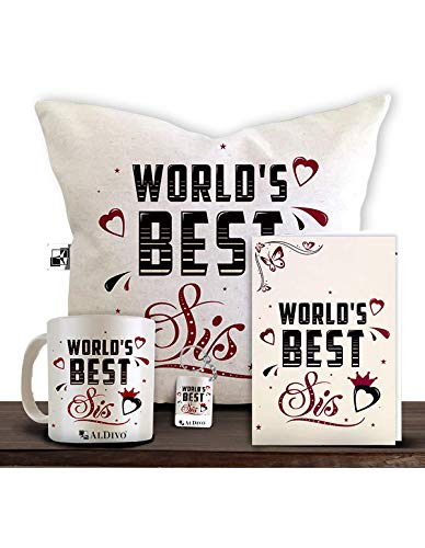 Aldivo Gift For Sister And Brother 12' X 12' Cushion Cover With Filler ,Printed Coffee Mug ,Greeting...