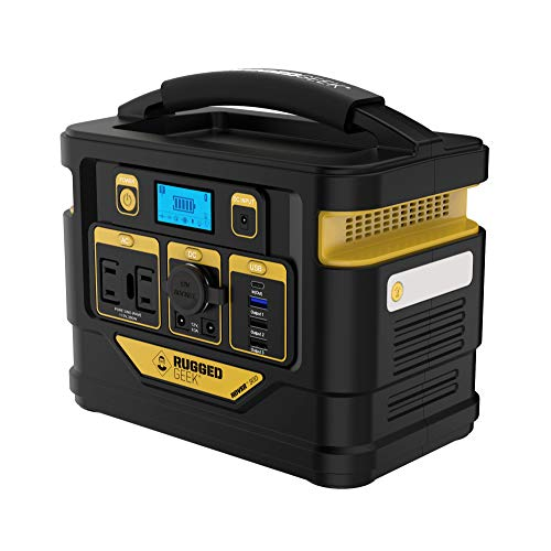 Rugged Geek Rover 300 Portable Power Station 300W Lightweight Solar Generator Power Pack w/ Dual 110V AC Outlets, 12V, Type-C and More.