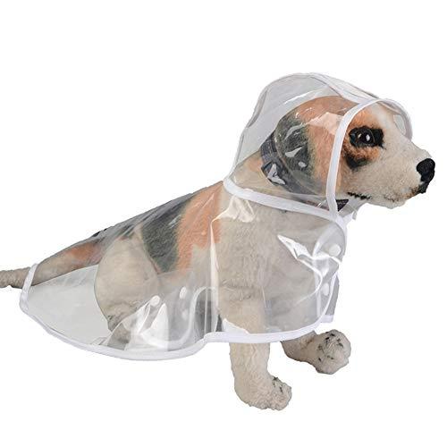 RYDRQF Hunderegenmantel, Hundewasserdichte Kleidung Atmungsaktive Hundekleidung, Wasserdicht und Leicht, Hunderegenjacke für Kleine und Mittlere Hunde,Weiß,M