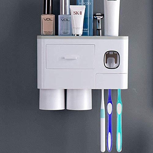 WREWING Soporte de cepillo para polvo de dientes para pared, multifuncional soporte de cepillo para polvo de dientes eléctrico para...