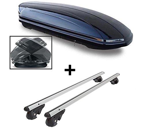 Skibox VDPMAA580 580Ltr Duo Repliable des Deux côtés + Barres de Toit en Aluminium VDP004XL pour Ssang Yong Rexton à partir de 13