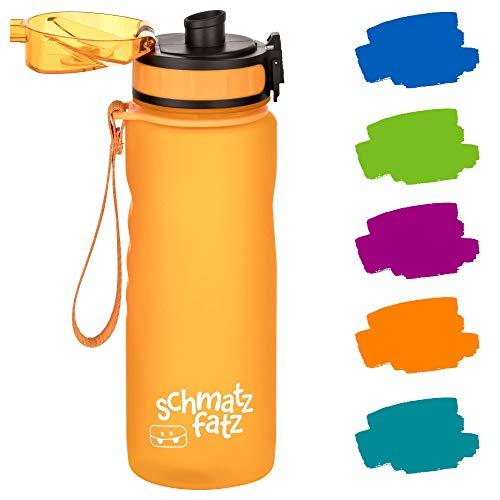 schmatzfatz auslaufsichere Sport Trinkflasche Kinder, BPA frei, 500ml, Fruchteinsatz, 1-Klick Verschluss, Kinder Trinkflasche für Schule Kindergarten (Orange)