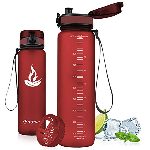 Baomay Botella de Agua Deportiva 1000ml, Adultos/Niños Bottle con Filtro, Bidon de Bebidas Plástico Tritan, para Gimnasio, Ciclismo, Trekking | Sin-BPA & Impermeable & Reutilizable (Rojo Oscuro)