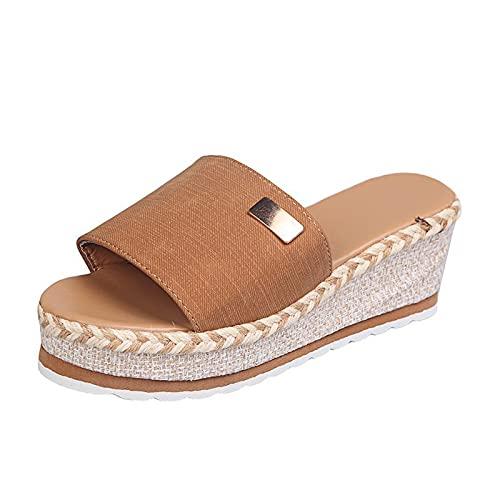 Mujeres Bowknot Beach Verano Zapatillas Mujer Sandalias Mujer Sandalias Plataforma Pendientes Tacones Tallas grandes Zapatos (marrón,41)