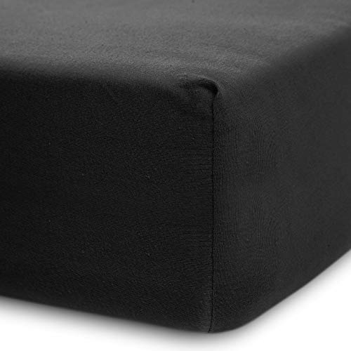 Lumaland Luxury Jersey Spannbettlaken für Wasserbett und Boxspringbett 100 % Baumwolle mit Rundum-Gummizug 140-160 x 200-220 cm Anthrazit