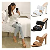 Jeauseul Women's Stiletto Mules Sandals Slip On Square Open Toe Backless Heeled Slippers High Heel Slides Women's High Stiletto Pump Heeled Sandals 4.9Inch