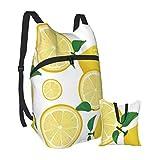 Mochila ligera de limón y lima plegable para senderismo, bolsa impermeable para hombres y mujeres