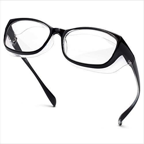 Jardin d'amour Gafas de seguridad, lentes con revestimiento antivaho y rayado, protectores laterales a prueba de viento negro