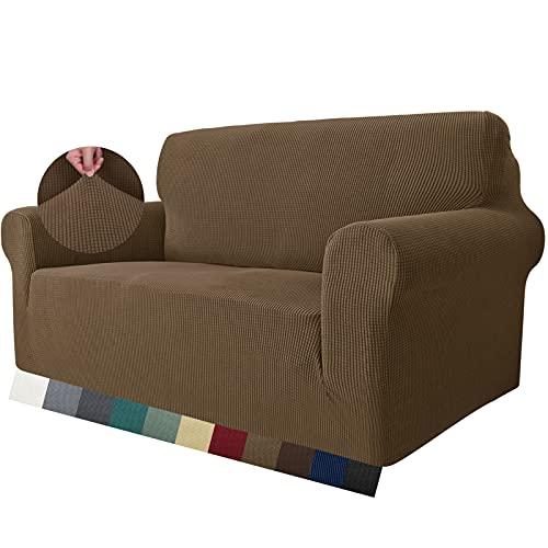 MAXIJIN Super Stretch Couch Bezug für 2-Sitzer Couch, 1-teilige Universal Love Sitzbezüge Jacquard Spandex Sofa Protector Hunde Haustierfreundliche Loveseat Schonbezug (2 Sitzer, Braun)